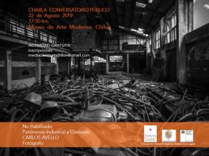 Afiche conversatorio Carlos Avello